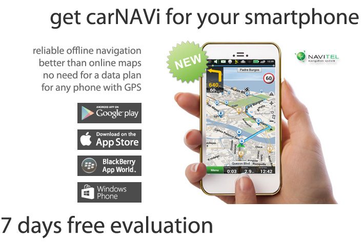 NAVITEL Smartphone App: Now you can use the carNAVi GPS map of the Philippines in your smartphone or tablet. NAVITEL Navigator is a navigation system which provides precise car navigation, geosocial services and detailed maps of 58 countries including the Philippines. Now this great product is available for Android smartphones and tablets, for Apple iPhone and Apple iPad, for Windows Phone 7.5 and 8.x and for selected Blackberry devices, like the Blackberry Q10/Z10/Z30. Download the NAVITEL App free of charge and get a map subscription for the Philippines map starting US$2.99 only. This fantastic navigation solution will guide you with carNAVi precision maps all over the Philippines.